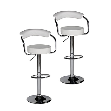 Pangea Home Bonny Adjustable Bar Stool (Set of 2); White