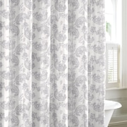 Laura Ashley Home Kingsley Cotton Shower Curtain; Gray