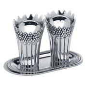 Godinger Silver Art Co 3 Piece Aspargus Salt and Pepper with Tray Set
