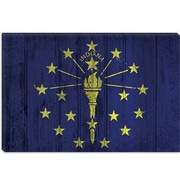 iCanvas Indiana Flag, w/ Splatters Graphic Art on Canvas; 12'' H x 18'' W x 1.5'' D