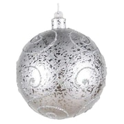 Queens of Christmas Ball Ornament Glitter; Silver with Silver