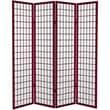 Oriental Furniture 71'' x 63'' Window Pane 4 Panel Room Divider; Rosewood