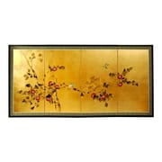 Oriental Furniture 24'' Leaf Cherry Blossom 4 Panel Room Divider