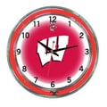 Wave 7 NCAA 18'' Team Neon Wall Clock; Wisconsin