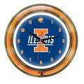Wave 7 NCAA 14'' Team Neon Wall Clock; Illinois