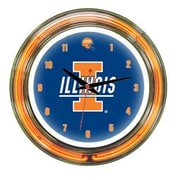 Wave 7 NCAA 14'' Team Neon Wall Clock; Illinois