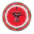 Wave 7 NCAA 14'' Team Neon Wall Clock; Texas Tech