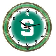 Wave 7 NCAA 18'' Team Neon Wall Clock; Michigan State