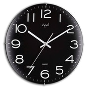 Opal Luxury Time Products 12'' Edge Less Dome Glass Wall Clock; Black