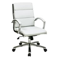 Office Star Mid-Back Leather Executive Office Chair Padded Arms and Base; White