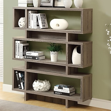 Monarch Specialties Inc. Reclaimed-Look Modern 55'' Bookcase; Dark Taupe