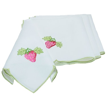 Xia Home Fashions Strawberry Patch Embroidered Cutwork Napkin (Set of 4)