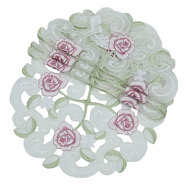 Xia Home Fashions Dainty Rose Round Doily (Set of 4); 8''