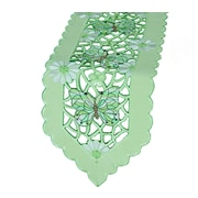 Xia Home Fashions Emerald Mariposa Embroidered Cutwork Table Runner