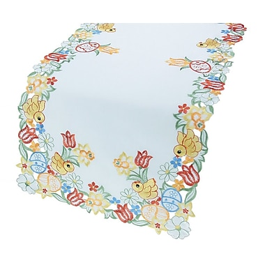 Xia Home Fashions Spring Chicks Table Runner; 16'' x 34''