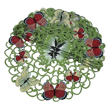 Xia Home Fashions Butterflies Round Doily (Set of 4); 8''