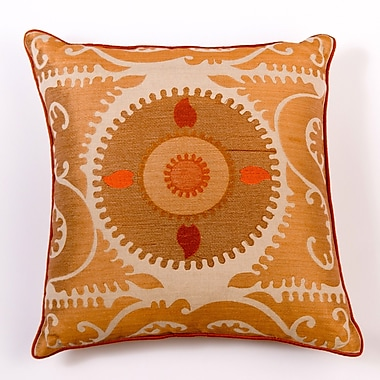 Filling Spaces Ikat and Suzani All Suzani Linen Pillow Cover; Brown