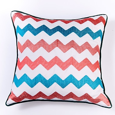 Filling Spaces Ikat and Suzani All Chevron Linen Pillow Cover; White