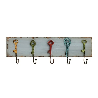 Woodland Imports Captain Key Styled Wood & Metal Coat Rack