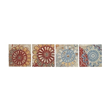 Woodland Imports Floral Embroidery 4 Piece Painting Print on Canvas Set