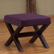 Lazzaro Leather Ottoman; Purple