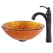 Kraus Blaze Glass Vessel Sink w/ Riviera Faucet; Oil Rubbed Bronze