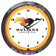 Neonetics 15'' Ford Mustang Since 1964 Orange Neon Clock
