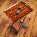 Novica The Asunta Pelaez Reverse Painted Glass Folding Tray Table