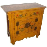 Oriental Furniture 2 Drawer Painted Cabinet