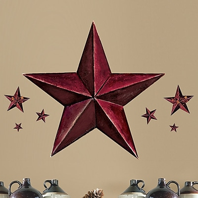 Room Mates Peel and Stick Giant 18 Piece Barn Star Wall Decal; Burgundy WYF078275759523