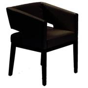 Armen Living Leather Arm Chair; Black