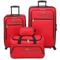 IZOD Metro 3.0 4 Piece Luggage Set; Red