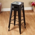 TMS 30'' Avalon Metal Stackable Stool (Set of 2); Black