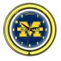 Wave 7 NCAA 14'' Team Neon Wall Clock; Michigan