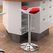 dCOR design Excelsior 25.6'' Adjustable Bar Stool; Red and White