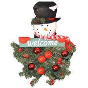 Queens of Christmas Battery Operated Snowman Hanging ''Welcome'' Arrangement