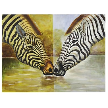 Acura Rugs Two Zebras Framed Original Painting on Wrapped Canvas