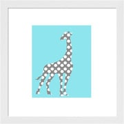 Evive Designs Polka Dot Giraffe Framed Art