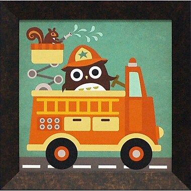 Artistic Reflections Owl in Firetruck and Squirrel by Lee, Nancy Framed Graphic Art