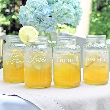 Cathys Concepts Wedding Party Mason Jars (Set of 4)