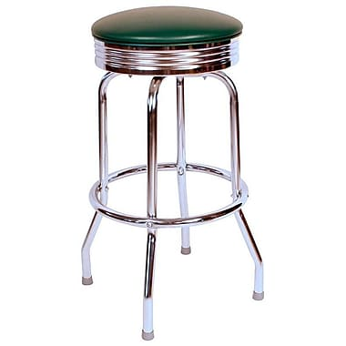 Richardson Seating Retro Home 24'' Swivel Bar Stool with Cushion; Green