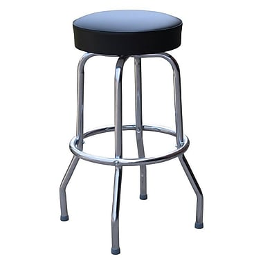 Richardson Seating Retro Home Backless 24'' Swivel Bar Stool with Cushion; Black