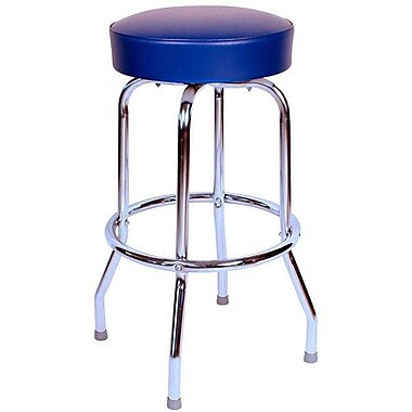 Richardson Seating Retro Home Backless 24'' Swivel Bar Stool with Cushion; Blue