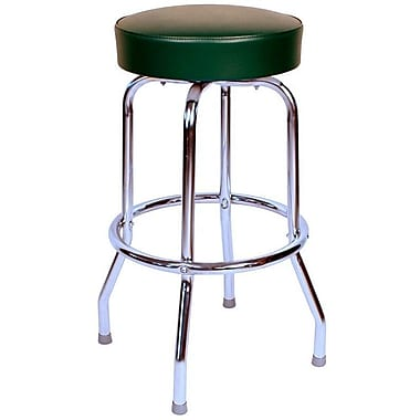 Richardson Seating Retro Home Backless 24'' Swivel Bar Stool with Cushion; Green