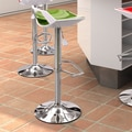 dCOR design Excelsior 25.6'' Adjustable Bar Stool; Green and White