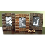 St. Croix Kindwer 3 Piece Rustic Tree Bark Wood Picture Frame Set
