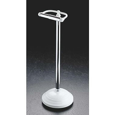 Taymor Freestanding Pedestal Toilet Paper Holder; White and Chrome