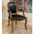 Home Loft Concept Carolina Leather Weathered Wood Arm Chair