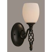 Toltec Lighting Elegante 1 Light Wall Sconce; White Linen