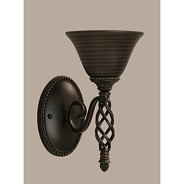 Toltec Lighting Elegante 1 Light Wall Sconce; Charcoal Spiral